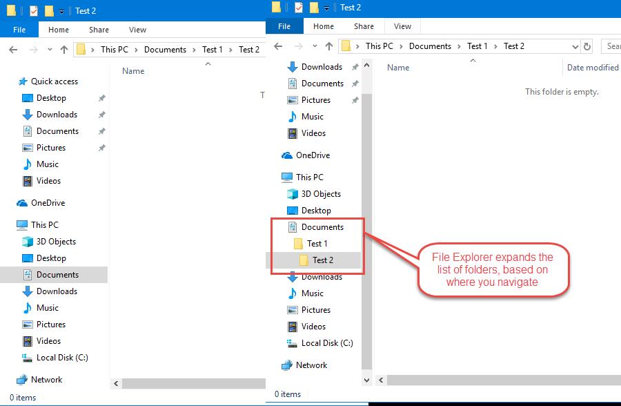 File Explorer expands the list of folders