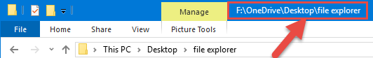 The full path in the File Explorer title bar