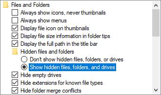 Show hidden files, folders, and drives