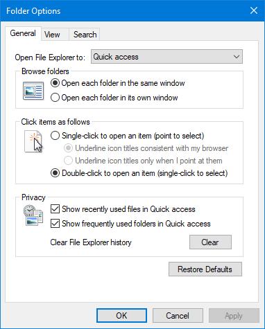 Folder Options in Windows