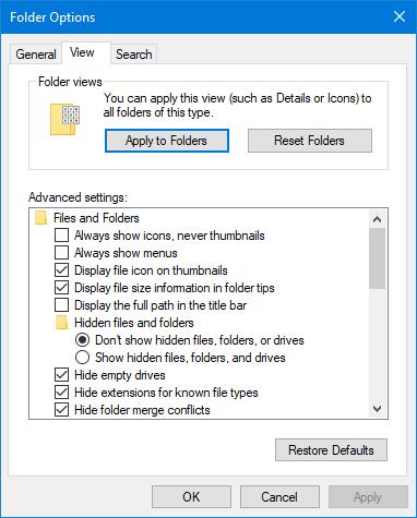 Folder Options - Advanced settings