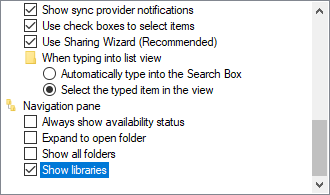 Show libraries in File Explorer