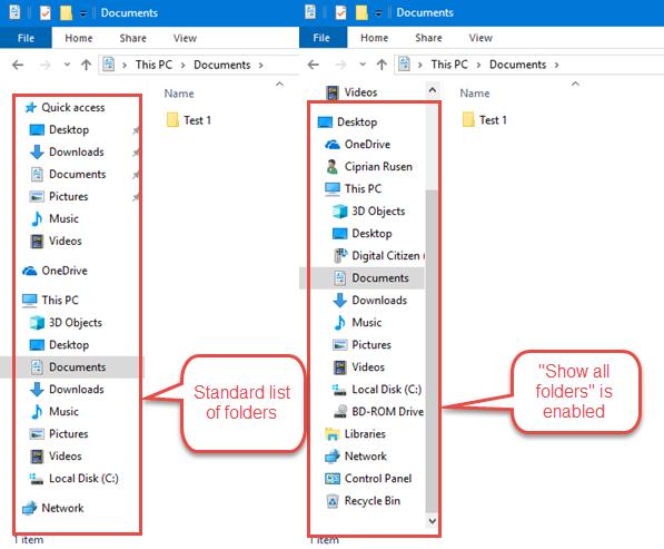 File Explorer showing all folders vs the standard list