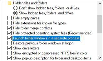 Launch folder windows in a separate process