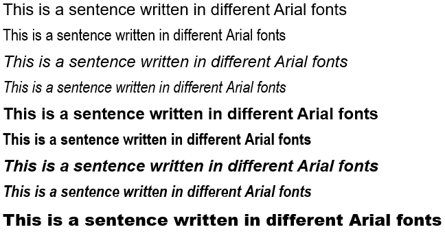 Arial font family