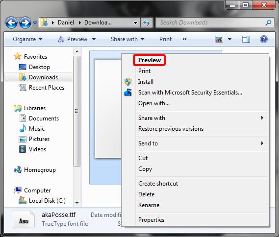 Context menu for a font file