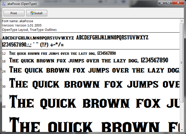 Preview for a font file