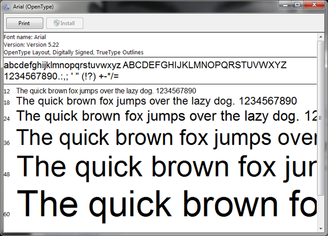 Preview an installed font