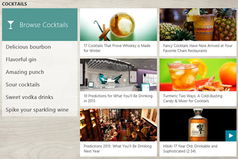 Windows 8.1, Food & Drink, recipes, wines, cocktails, cooking