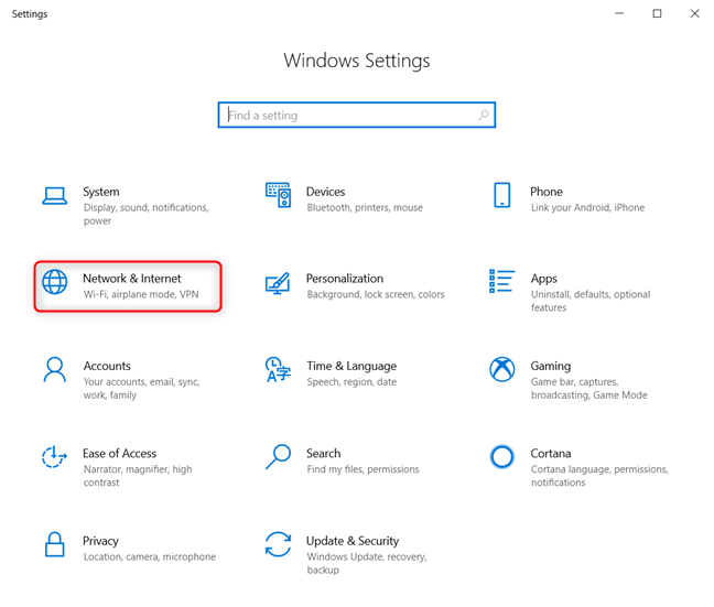Windows 10 Settings - Go to Network & Internet
