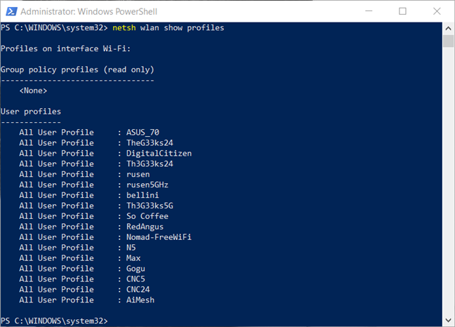 View all the network profiles in PowerShell