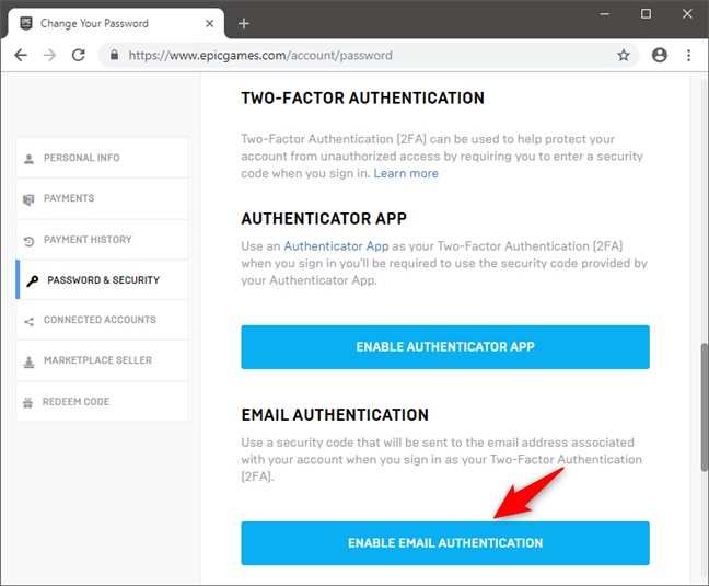 Choosing to enable two-factor authentication via email