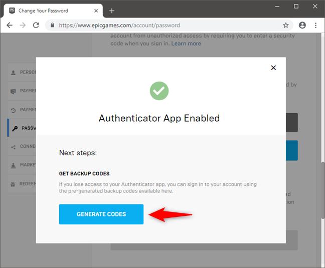 Generating backup 2FA security codes