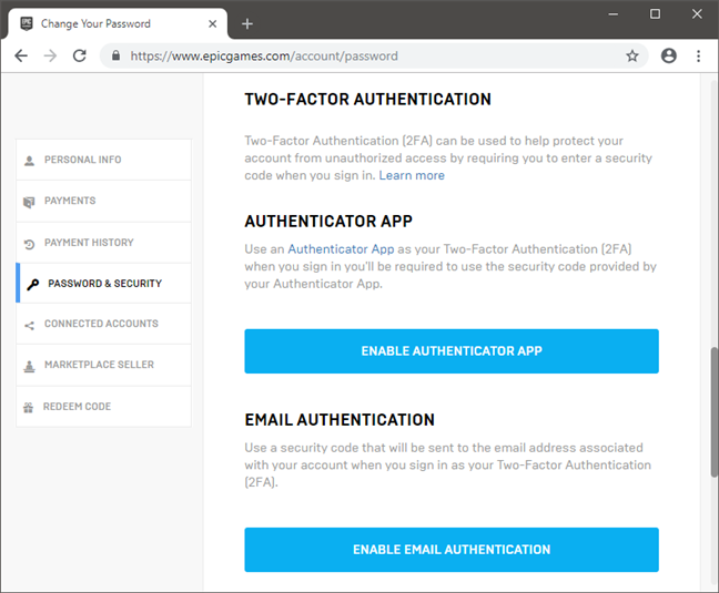 The Two-Factor Authentication settings