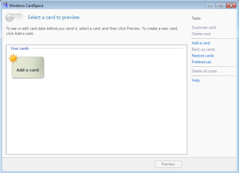 CardSpace in Windows 7