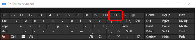 The F11 key turns on the Full screen mode in Microsoft Edge