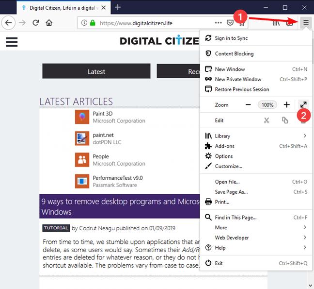 Turn on the full-screen mode in Mozilla Firefox