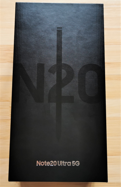 The packaging used for Samsung Galaxy Note20 Ultra 5G