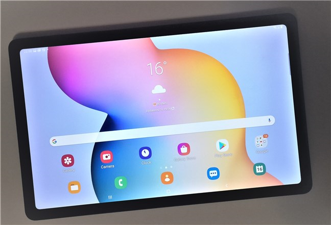 The home screen of the Samsung Galaxy Tab S6 Lite
