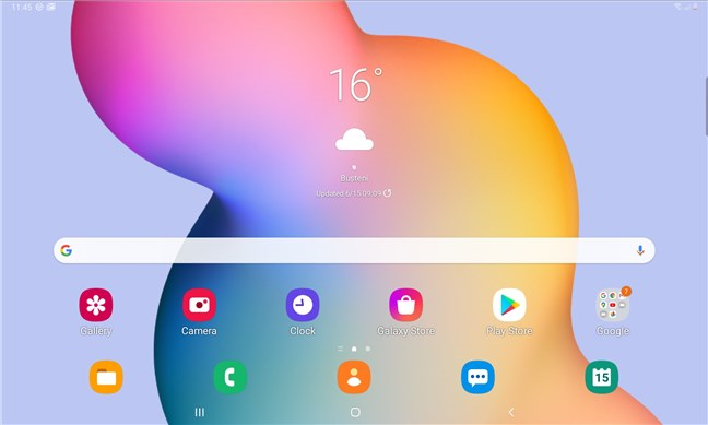 The home screen of the Samsung Galaxy Tab S6 Lite Android tablet