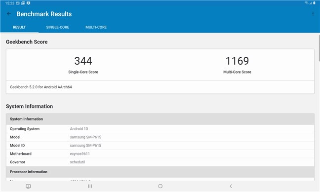 Samsung Galaxy Tab S6 Lite: Geekbench benchmark results