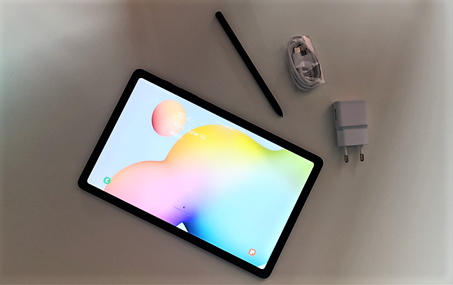 The Samsung Galaxy Tab S6 Lite tablet together with its charger and S Pen