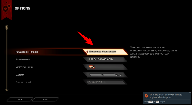Configuring Dragon Age: Inquisition to run in windowed fullscreen mode