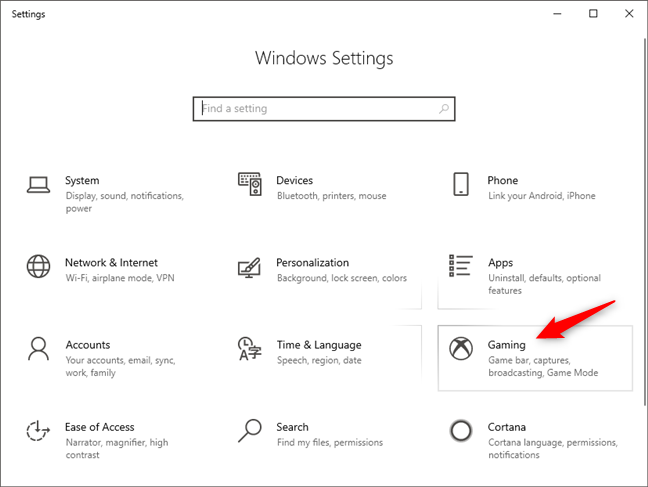 The Gaming category from the Windows 10 Settings app