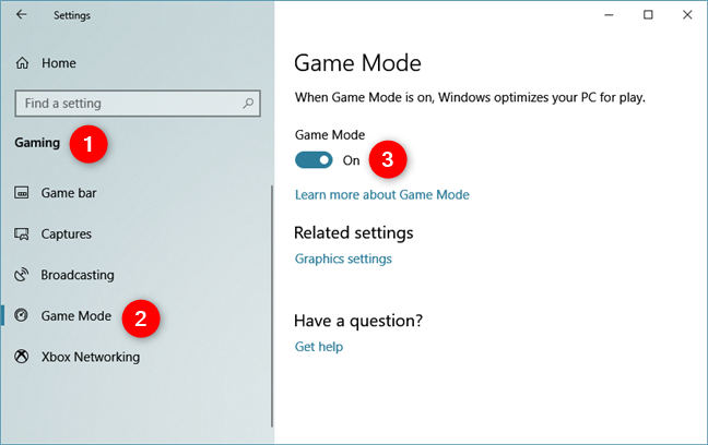 Enabling the Game Mode in Windows 10