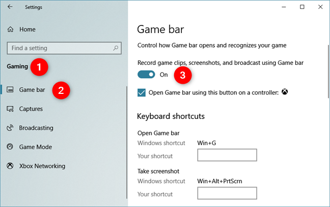 Enabling Record game clips, screenshots, and broadcast using Game bar