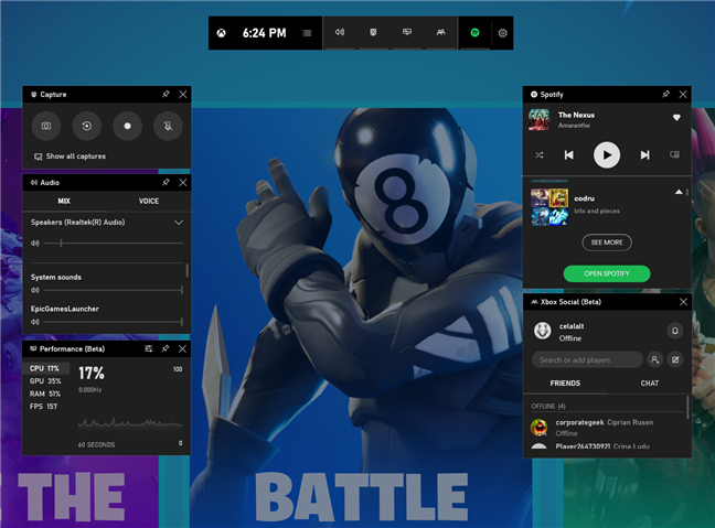 The Game Bar shown on the screen while playing Fortnite