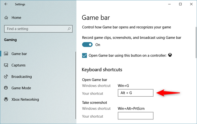 Assigning a different keyboard shortcut for opening the Game bar