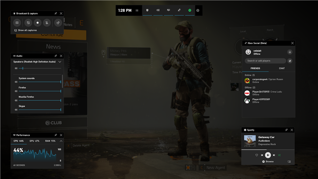 The Xbox Game Bar overlays shown in a game
