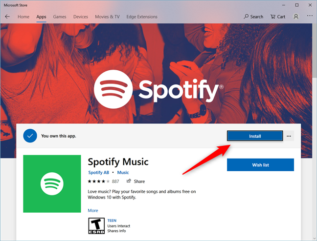 The Spotify app page from the Microsoft Store