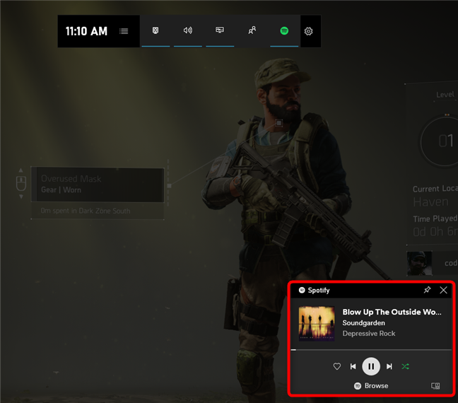 Xbox Game Bar has enabled the Spotify widget