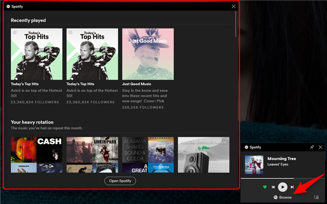 The Browse button from the Spotify widget lets you choose the playlist to be played