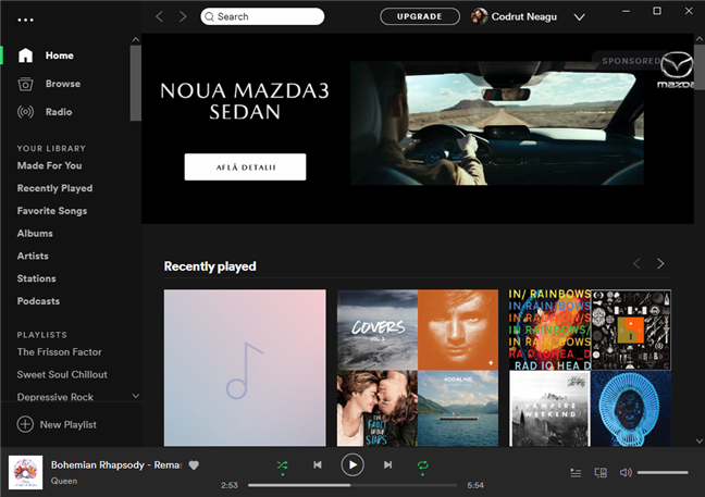 The Spotify app connected to your profile