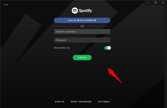 Logging into your Spotify account