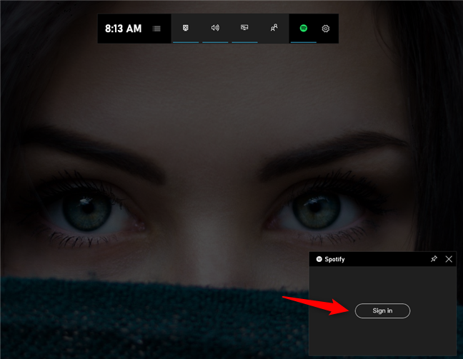 The Sign in button from the Spotify widget