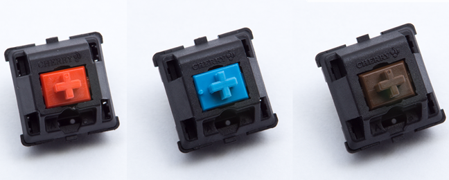 Cherry MX switches: Red, Blue, and Brown