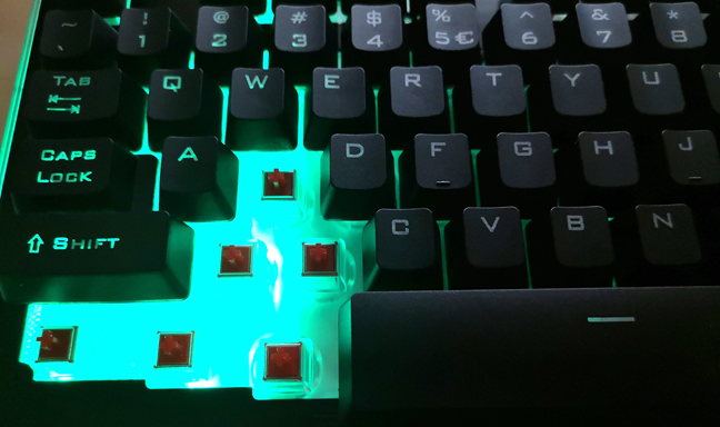 RGB keyboard that uses both a plastic top cover and a plastic backplate for the keys