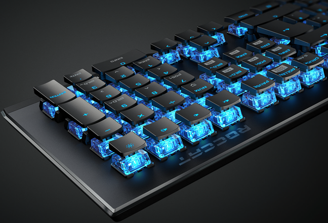 Roccat Vulcan 100: The keys are mounted on the aluminum top plate