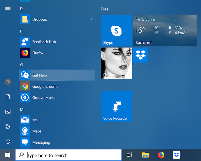 Open Get Help from the Start Menu
