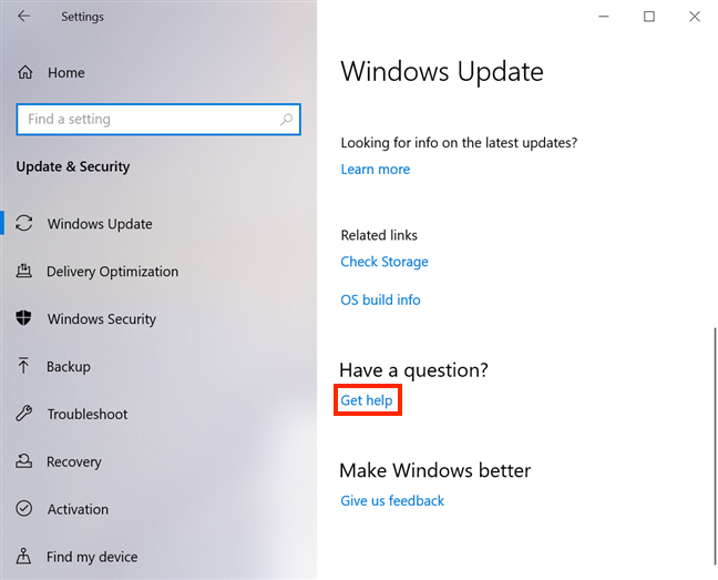 The Get help link at the bottom of the settings for Windows Update