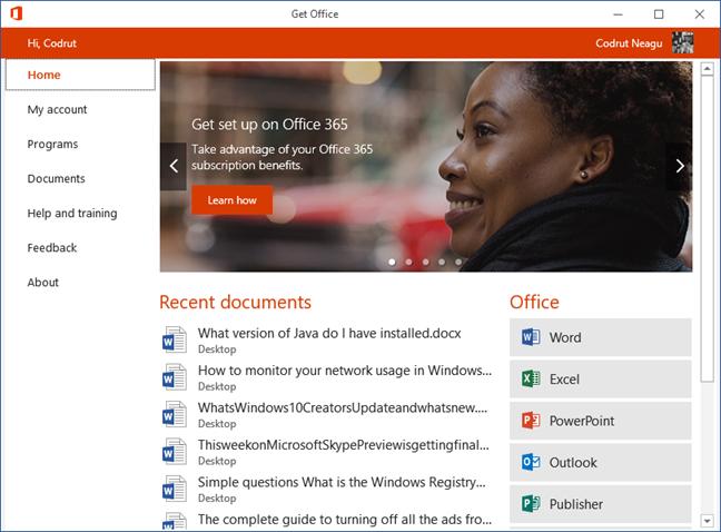 Get Office, app, Windows 10