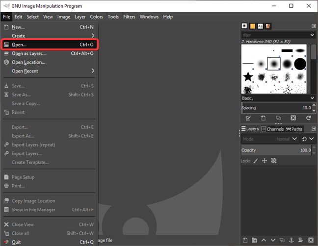 Open a GIF file in GIMP