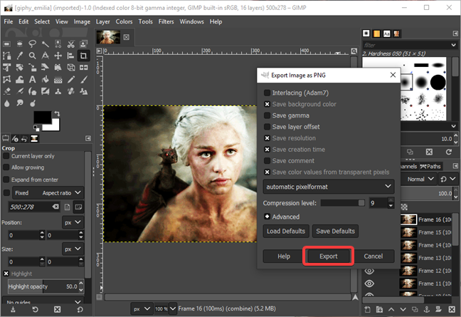 Start the Export Layers in GIMP