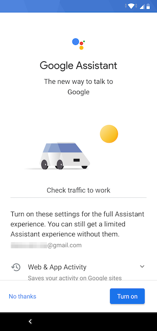 Choosing whether to enable Google Assistant