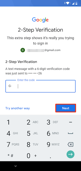 Verifying your account using SMS
