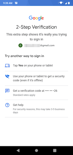 Choose a way to verify your account
